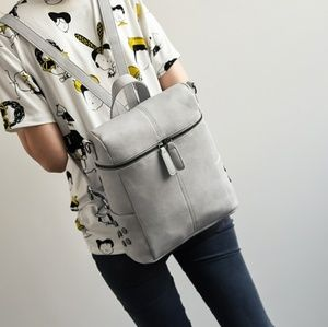SALE $40-Gray Vegan Leather Backpack